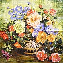 Papier - S086 - Servítky - kytica, váza, ruža, kvet - 7621379_