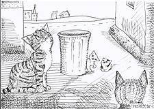 Kresby - Mačičky, smetný kôš a sídlisko -- fixka - 7622201_
