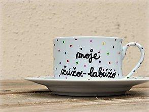 Nádoby - Maľovaná šálka s podšálkou na kávu (Žúžo-labúžo (200 ml)) - 7623667_