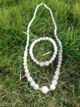 Sady šperkov - Ružová ... - sada šperkov z ruženínu - náhrdelník a náramok - 7621046_