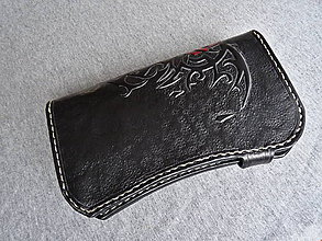 Peňaženky - Peňaženka gotická ruža, čierna koža - 7622217_