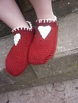 Obuv - vo vlne,červené papuče - 7621487_
