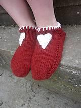 Obuv - vo vlne,červené papuče - 7621488_