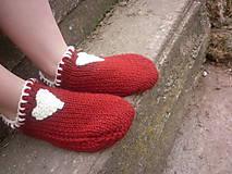 Obuv - vo vlne,červené papuče - 7621492_