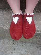 Obuv - vo vlne,červené papuče - 7621504_