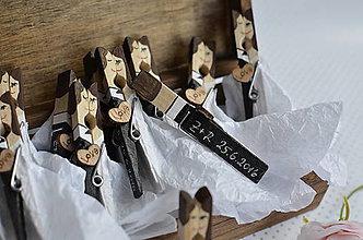 Darčeky pre svadobčanov - Svadobné magnetky čiernobiele figúrky 80ks - 7623984_