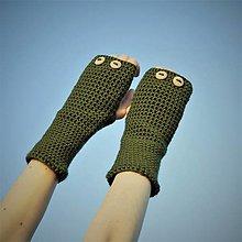 Rukavice - Khaki rukavice bez prstov - 7627679_