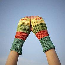 Rukavice - Bavlnené oranžovo zeleno žlté rukavice - 7627782_