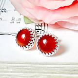 Classic Red Jade Earrings & Silver Ag 925 / Strieborné náušnice s červeným jadeitom