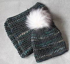 Čiapky - Čiapka a nákrčník ,sivo-modro-zelený set - 7627320_