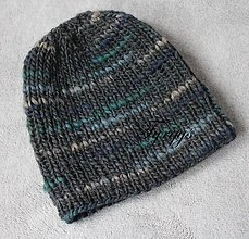 Čiapky - Čiapka sivo-modro-zelená - 7627345_
