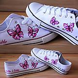 Obuv - motýľové tenisky - cyklamen - 7627843_