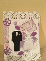 Pohľadnica svadobná fialová