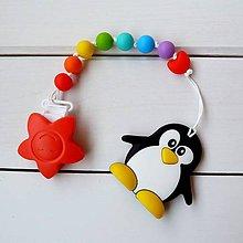 Detské doplnky - Silikónové kúsatko na šnúrke tučniak Marko - 7626775_