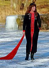 Šaty - Dámske maxi šaty maľované, folk TROJKRÁĽOVÉ - 7627256_