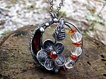 - cínový náhrdelník - Baltský Jantár + Krištáľ - 7624924_