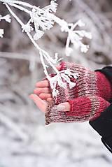 Rukavice - Bezprstové rukavičky - červený melír - 7627807_