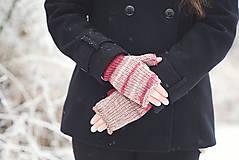 Rukavice - Bezprstové rukavičky - červený melír - 7627808_
