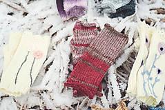 Rukavice - Bezprstové rukavičky - červený melír - 7627812_