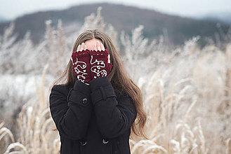 Rukavice - Bezprstové rukavičky - bordó - 7627743_