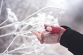 Rukavice - Bezprstové rukavičky - červený melír - 7627806_
