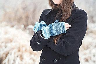 Rukavice - Bezprstové rukavičky - modrý melír - 7627870_