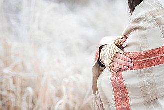Rukavice - Bezprstové rukavičky - hnedý melír - 7627898_