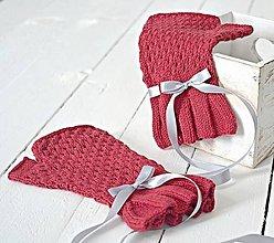 Rukavice - Pletené nátepníčky bordové - 7625402_