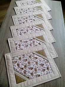 Úžitkový textil - Prestieranie bledohnedé s krajkou - 7625976_