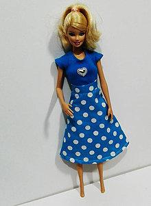 Hračky - Retro modrá suknička pre Barbie - 7628187_