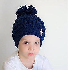 Detské čiapky - detská čiapka indigová - 7626580_