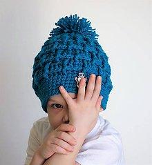 Detské čiapky - detská čiapka tyrkysová - 7626601_