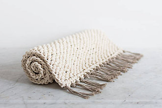 Úžitkový textil - Ručne pletený bavlnený koberec  - 7628780_