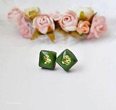Náušnice - Zelené kocky - 7629400_