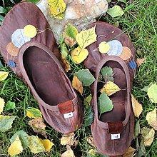 Obuv - Barefoot baleríny kožené s podrážkou v kaštanové - 7628546_