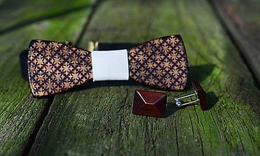 Šperky - Dizajnový drevený set motýlika a manžetových gombíkov - 7630225_