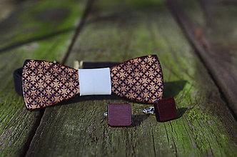 Šperky - Dizajnový drevený set motýlika a manžetových gombíkov - 7631032_