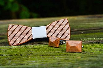 Šperky - Dizajnový drevený set motýlika a manžetových gombíkov - 7631648_