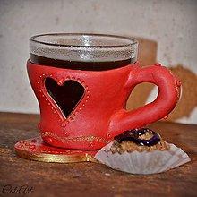 Nádoby - Zaľúbená káva - šálka na kávu (picollo) - 7631022_