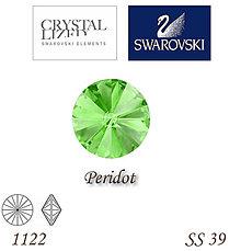 Korálky - SWAROVSKI® ELEMENTS 1122 Rivoli - Peridot, SS 39(8mm), bal.1ks - 7630505_
