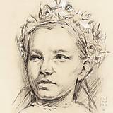 Kresby - Dievča s partou - portrét - 7635018_