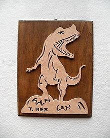Obrázky - Drevený obrázok T- Rex - 7633595_
