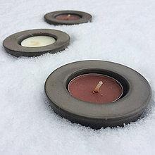 Svietidlá a sviečky - Malý betónový svietnik SMALLO okrúhly - 7634742_