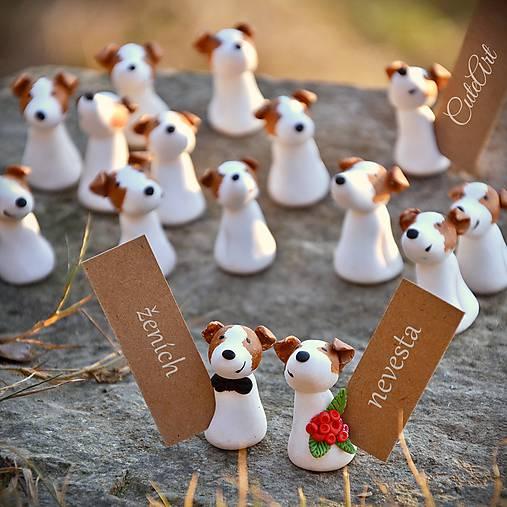Darčeky pre svadobných hostí, menovky - maľované podľa fotografie psíka