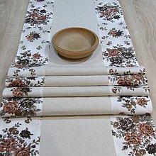 Úžitkový textil - Ľanovo kvetovaný- stredový obrus 142x40 - 7635293_