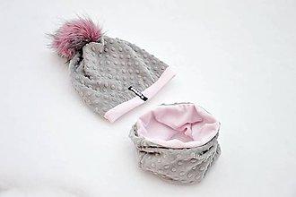 Detské súpravy - zimná súprava s menom a odopínacím brmbolcom Silver & Pink - 7634929_