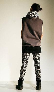 Iné oblečenie - šedá dlhá vesta so zebričkovou kapucňou - 7634422_