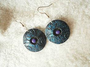 Náušnice - Náušnice z polyméru, fialová gulička - 7632685_