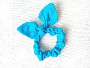 Ozdoby do vlasov - Mini scrunchie (light blue/turquoise) - 7637848_