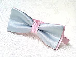 Doplnky - Svadobný pánsky motýlik (ružový/šedý) - 7639424_
